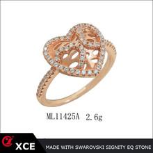 unique micro set heart zirconia lady ring