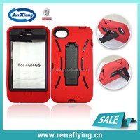 wholesale robot silicon+PC cell phone case for iphone 4 with kickstand
