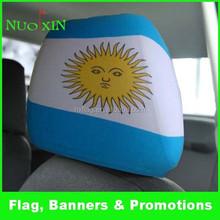 high quality waterproof spandex &polyester custom car headrest cover /car headrest flag whoelsale