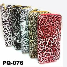 Cartera de leopardo impresión para mujer cartera de cierre de cremallera