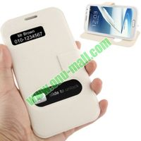For Samsung Galaxy Note 2 Leather Case with Holder and Call Display ID