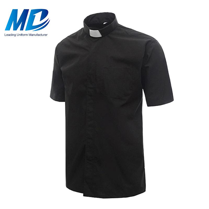 Лучшее качество сплошной цвет черный церкви духовенство рубашки