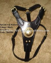 Premium Leather Designer Dog Harness with Brass Fittings