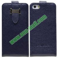 Litch Texture Flip Leather Case for iPhone 5S with Credit Card Slots and Buckle