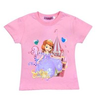 Brand Name Children Short Sleeve 100%Cotton Girl Sofia T-shirt Kids Summer Clothes baby girl tee Factory Price