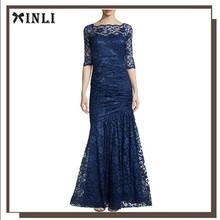 Half-Sleeve Mermaid Maxi Royal Blue and White Mermaid Lace Wedding Dress Patterns