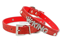 Personalized shiny Leather Dog Pet Puppy Collars Free Customized Rhinestone Buckle Fit for 10mm letters and charms