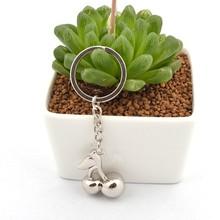 Charm silver plated fruit shape keychain for key cherry keychain