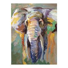 Hand Painted Elephant Cartoon Animal Oil Painting for Kids Room