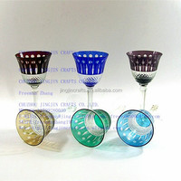 stock high quality hand made engraved champagne flute/hand engraved colored crystal glass goblets, glass stemware,wine glass