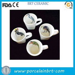 White bird painting inside creative design coffee cup set 4 for promotion