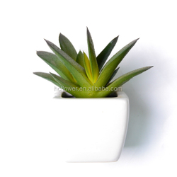 Small Modern Cube-Shaped White Ceramic Planter Pots with Artificial Succulent Plants