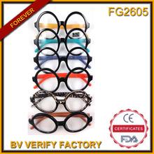de plástico fg2605 ronda marco de la lente con gafas de sol de metal de la bisagra