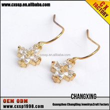 New design gold plated jewelry earring cross earrings
