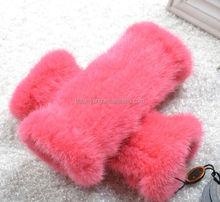 rabbit real fur gloves/beautiful knitted fignless gloves with rabbit fur/wool lined leather gloves