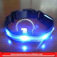 High quality blue waterproof led pet collar with flash mode for party,shows,festivals