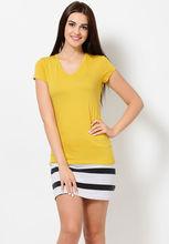 las mujeres de moda para mujer normal camisetas cuello v t