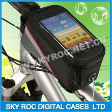 Hot sale waterproof bicycle frame mobile phone bag with clear PVC screen