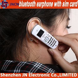 2015 new arrival bluetooth earphone GSM SIM CARD SLOT hot selling small size mobile phones