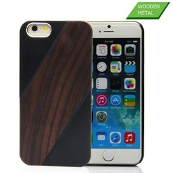 Factory wholesale price new design aluminum and natural wood case for iphone