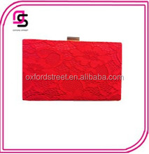 2015 Exclusive lace mesh floral high-grade red box clutch,evening bag