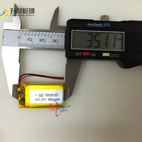 new battery Hotsale lithium ion battery 3.7v 350mah 502035 for LED project