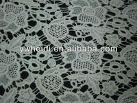 lily flower with leaf pattern white lace fabric