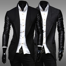 RT New 2015 Winter Mens Woolen Trench Coat Leather Sleeves Open Stitch Slim Fit Brand suit Jacket Overcoat Free Shipping ZF33