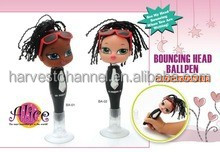 Innovate pretty girl head with stitching hair ball pen