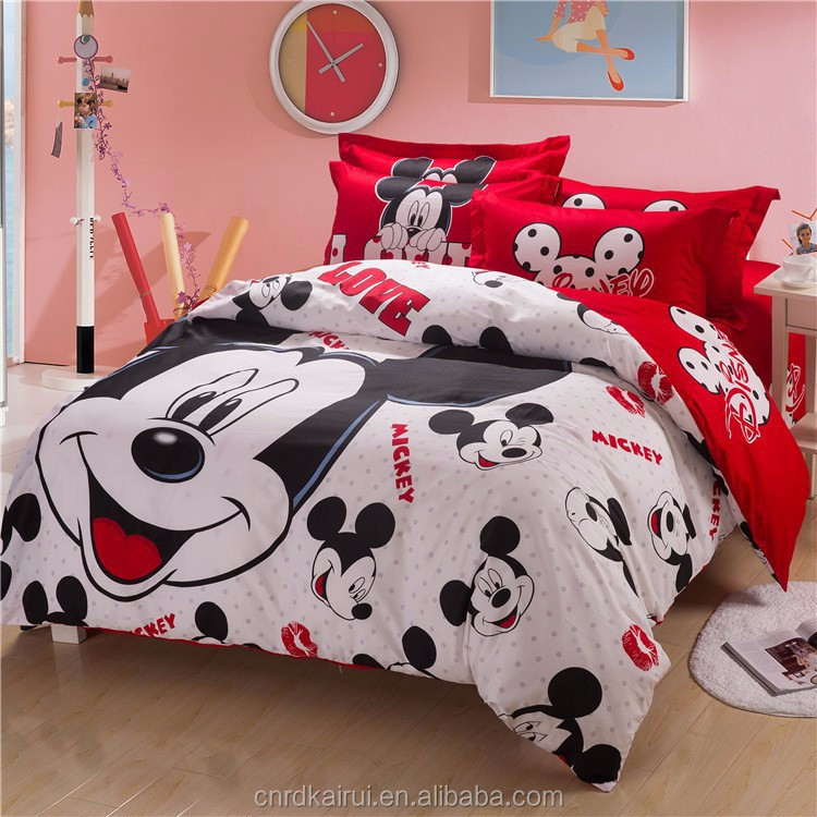 3d Cartoon Mickey Mouse Kids Printed Bedding Set 4pc