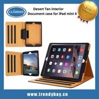 Desert Tan interior premium leather cover For ipad mini 4 case