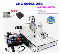 Best price! 4axis CNC Router 6040Z-USB Mach3 auto engraving machine with 1.5KW VFD spindle and USB port for hard metal