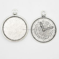 RS-1017Y 25mm Antique Silver Zinc Alloy pendant Setting with Blank wholesale fashion jewelry