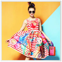 2014 customize design digital printing silk dress