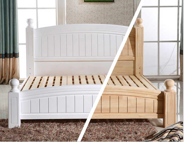 White wooden double bed designs with storage 740 x 571
