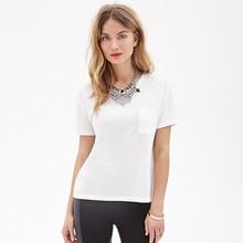 Female 100% cotton Classic Pocket Tee, custom front pocket t-shirt, plain cotton t-shirt with pocket