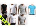 2015 OEM nuevos Mens Slim Fit V-neck / crew cuello de la camiseta de manga corta del músculo