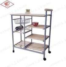 moderno de madera de metal carretilla de la cocina con vino de pie
