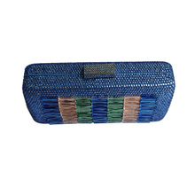 Leather quilted box clutch in blue