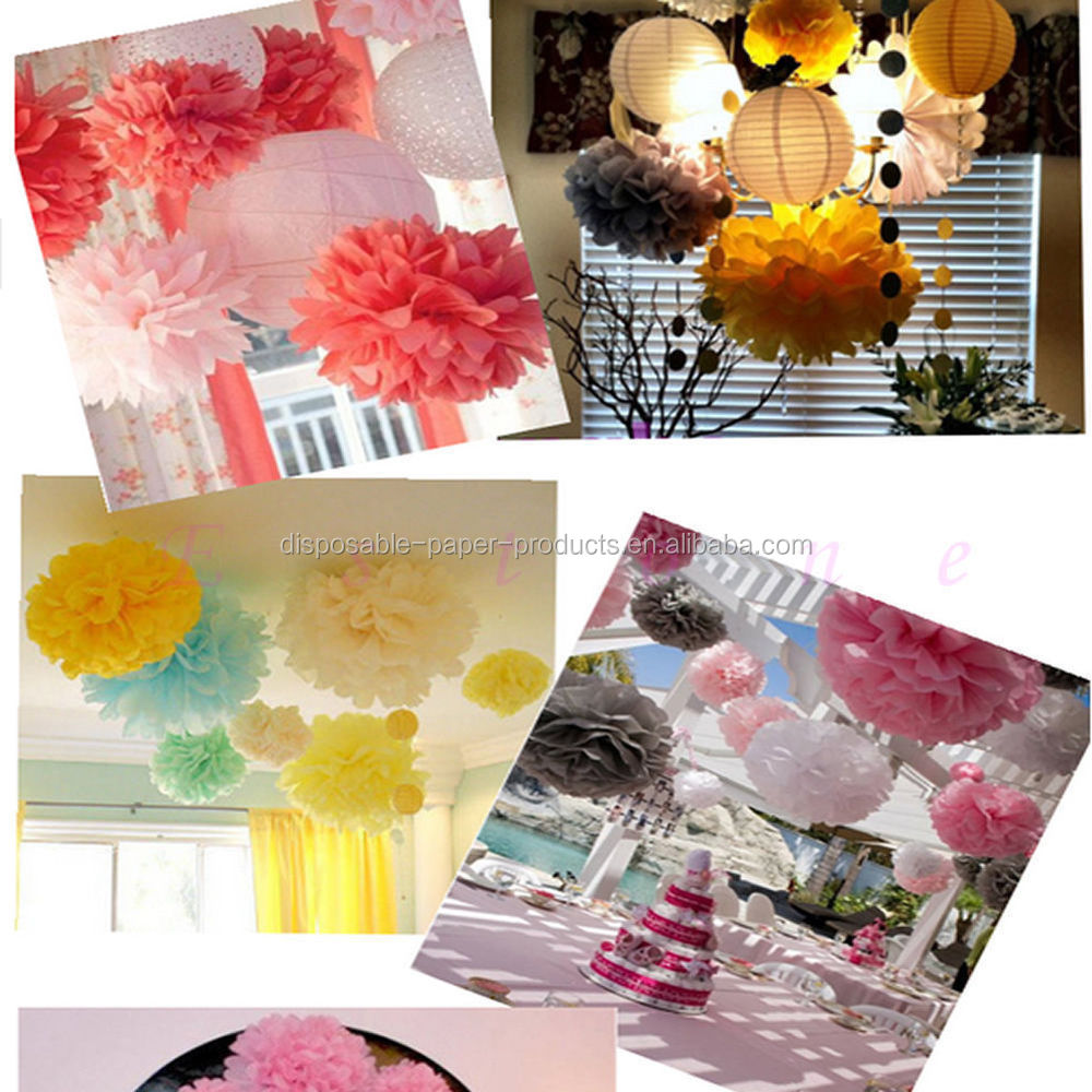 Flower Shop Themed Birthday Backdrop Decor Tissue Paper Pom Poms