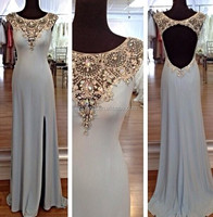 Cap Sleeve Beading Back Hole Side Slit Custom Made Floor Length Designs Long Evening Party Wear ED116 oriental evening dress