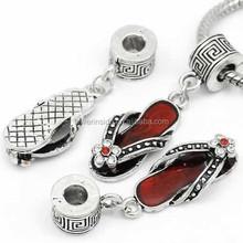 """ Flip Flop Shoe Charm "" W/Color Crystal Dangle Bead For Snake Chain Charm Bracelet"