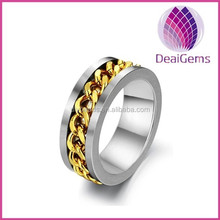 Cheap wholesale 316L Stainless steel man ring with gold chain design