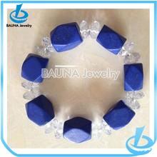 Fashion beautiful rhinestone squre blue marble bracelet