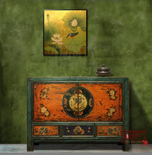 Chinese antique painting cabinet rustic console cabinet alter cabinet lacquer high gloss cupboard locker colorful buffet old