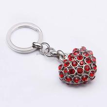 Luxury heart shaped red color rhinestone custom keyring