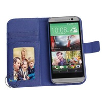 Popular business style magnetic wallet case cover for htc one m8 with card slots