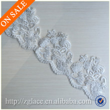 embroidered tulle lace trimming / European wedding dress lace material