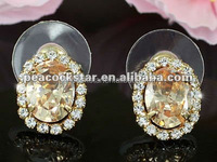 2.5 Carat Champagne Austrian Crystals Earrings CSE461