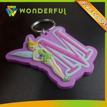 3D Soft PVC Keychain Key chain ,Rubber Cartoon Girl Keychains ,Silicone Keyring